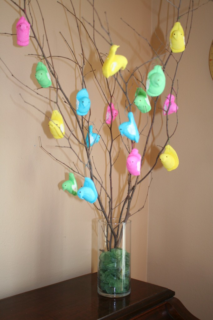 Dollar store idea marshmallow peeps easter tree mommysavers