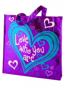 Love who you are metallic tote