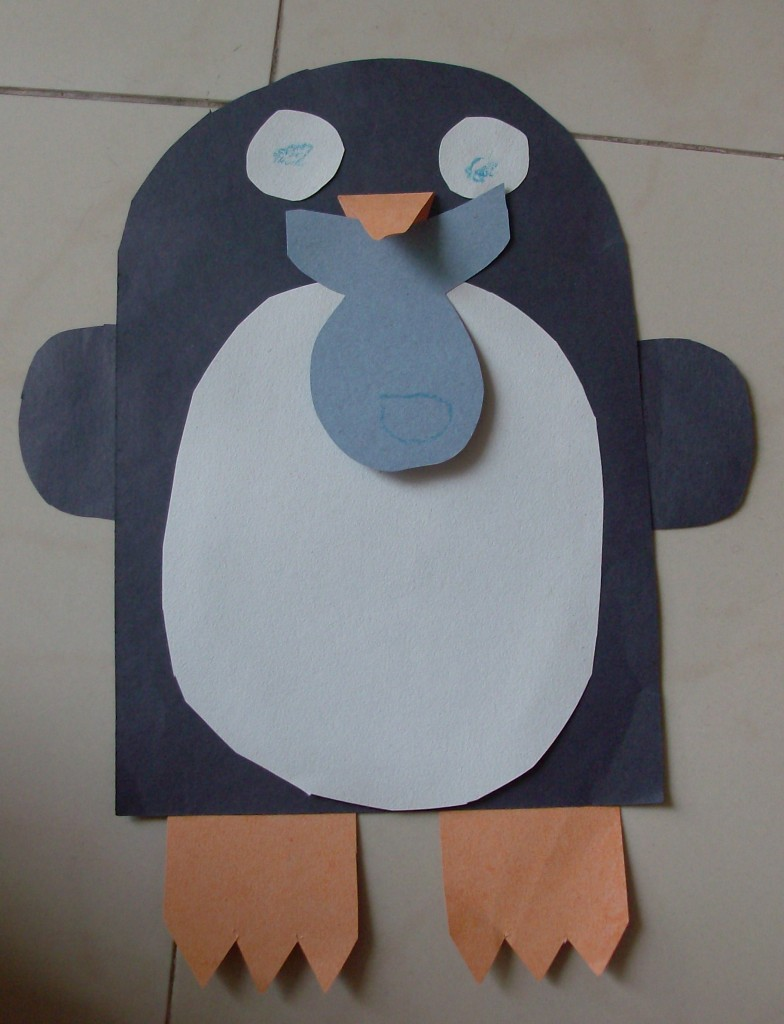 construction paper penguin craft and song - Christmas Construction Paper Crafts