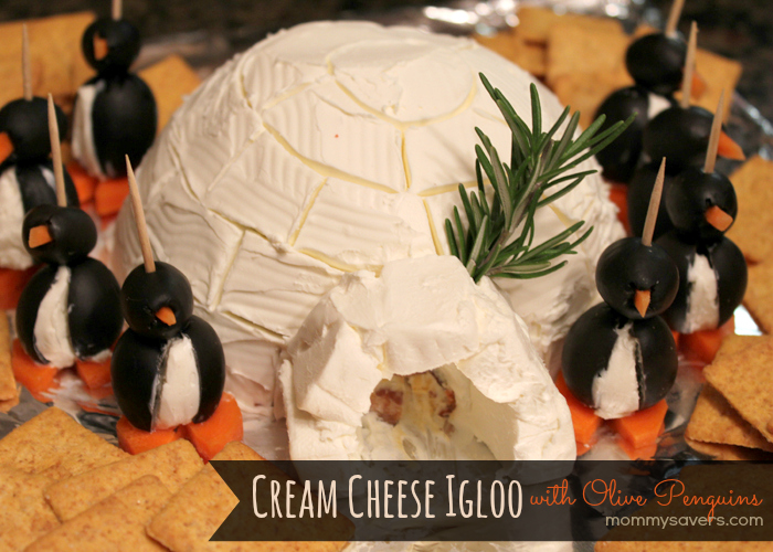 How to Make a Cheese Ball Igloo with Olive Penguins - Mommysavers.com