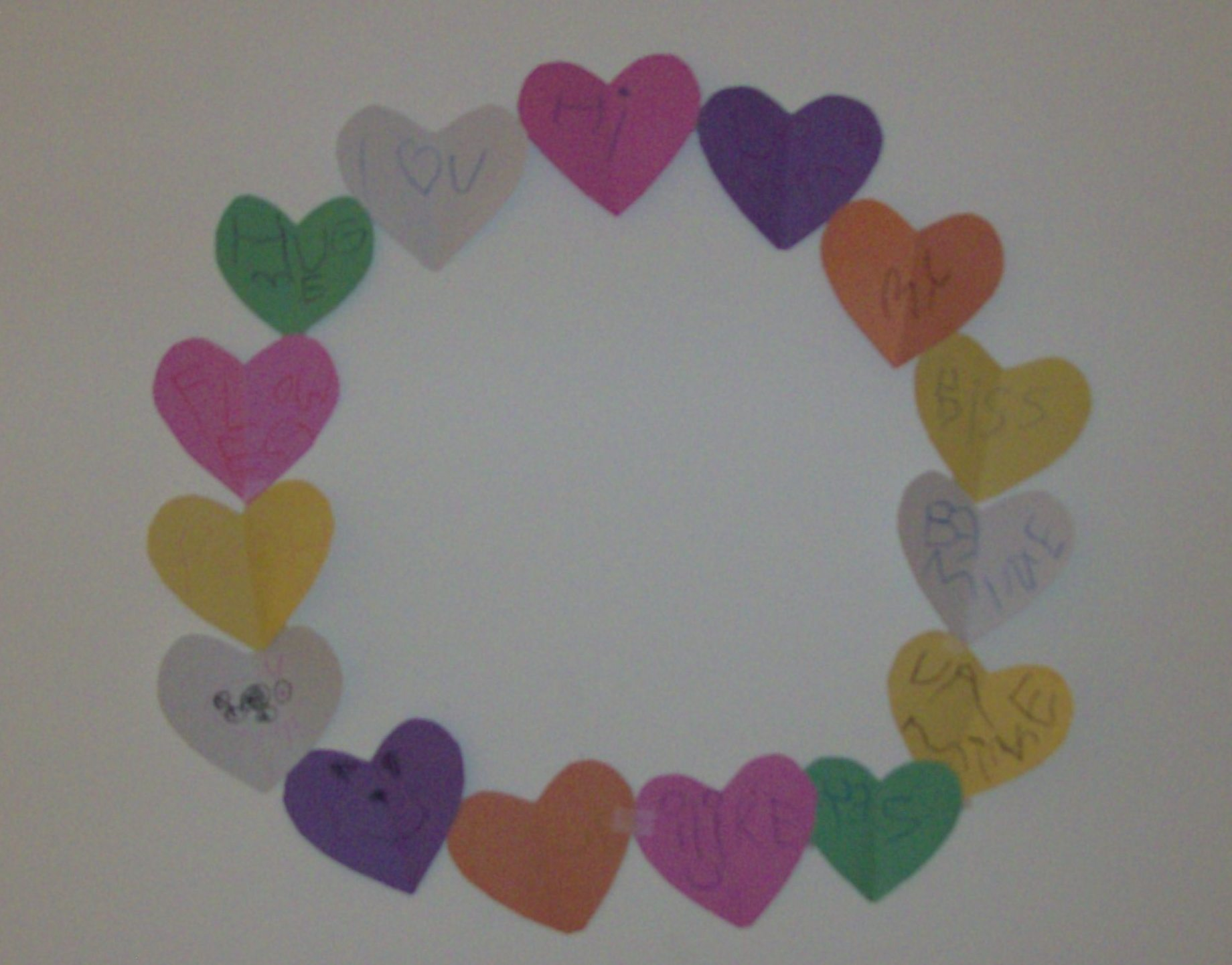 Paper Conversation Heart Wreath Kids Craft