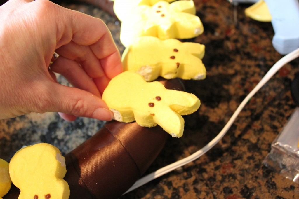 Gluing Marshmallow Peeps on Wreath