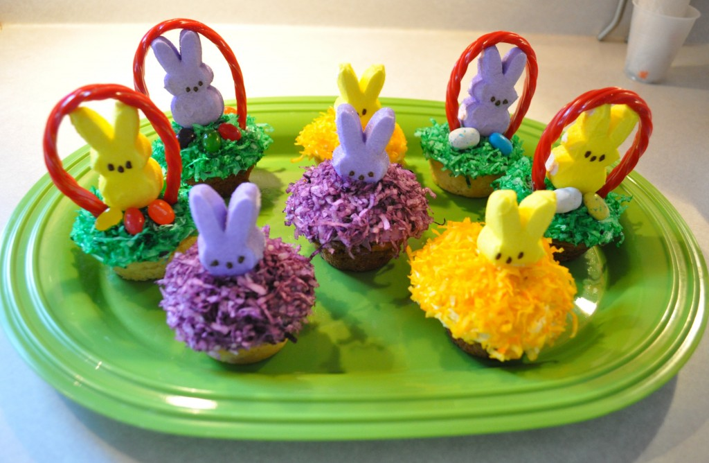 Marshmallow peeps treat easter bunny cupcakes mommysavers