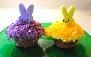 Marshmallow Peeps Treat: Peeking Bunny Cupcakes