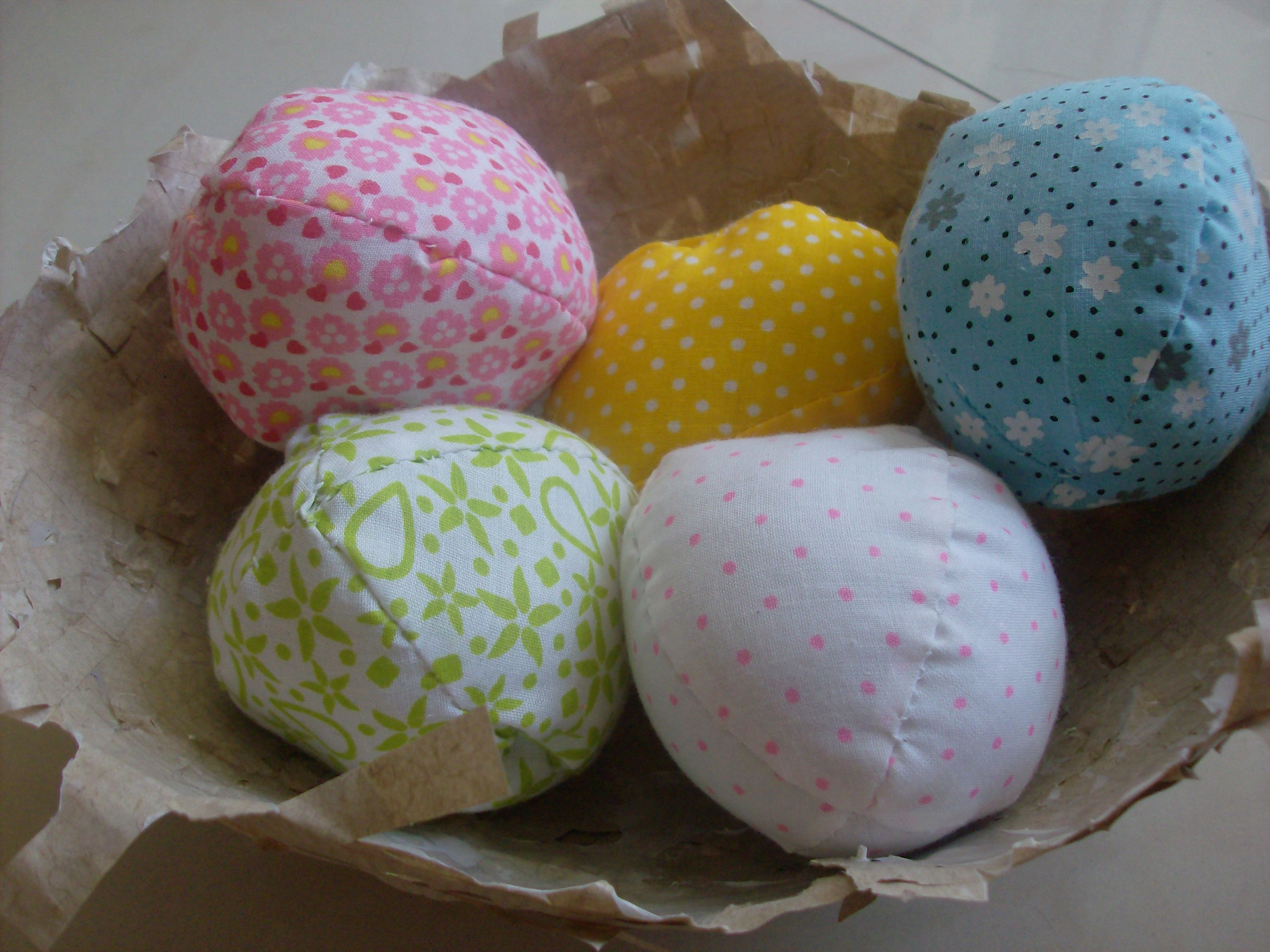 Fabric Easter Eggs in Recycled Birds Nest