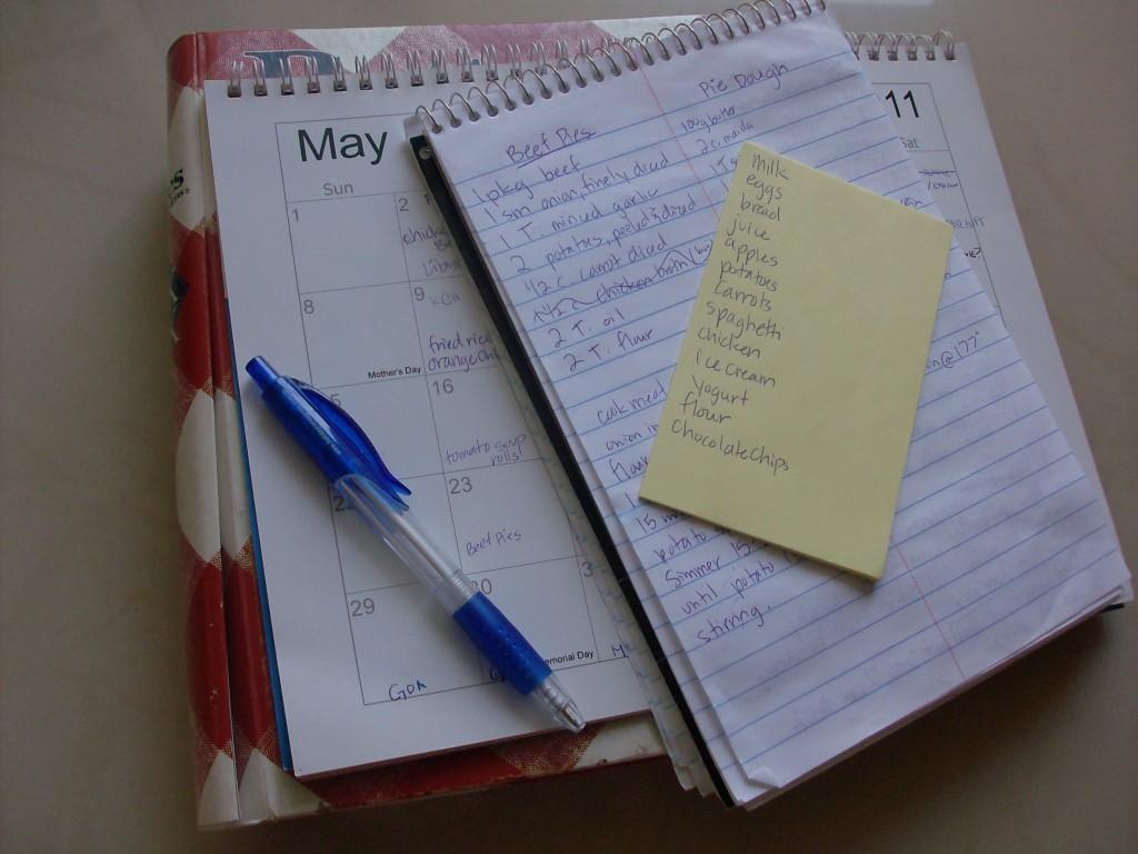 Menu Planning calendar
