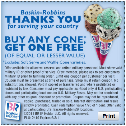 BOGO Baskin Robbins Ice Cream Cones Coupon Coupons and Deals