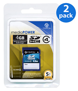centon 2 pack sdhc cards