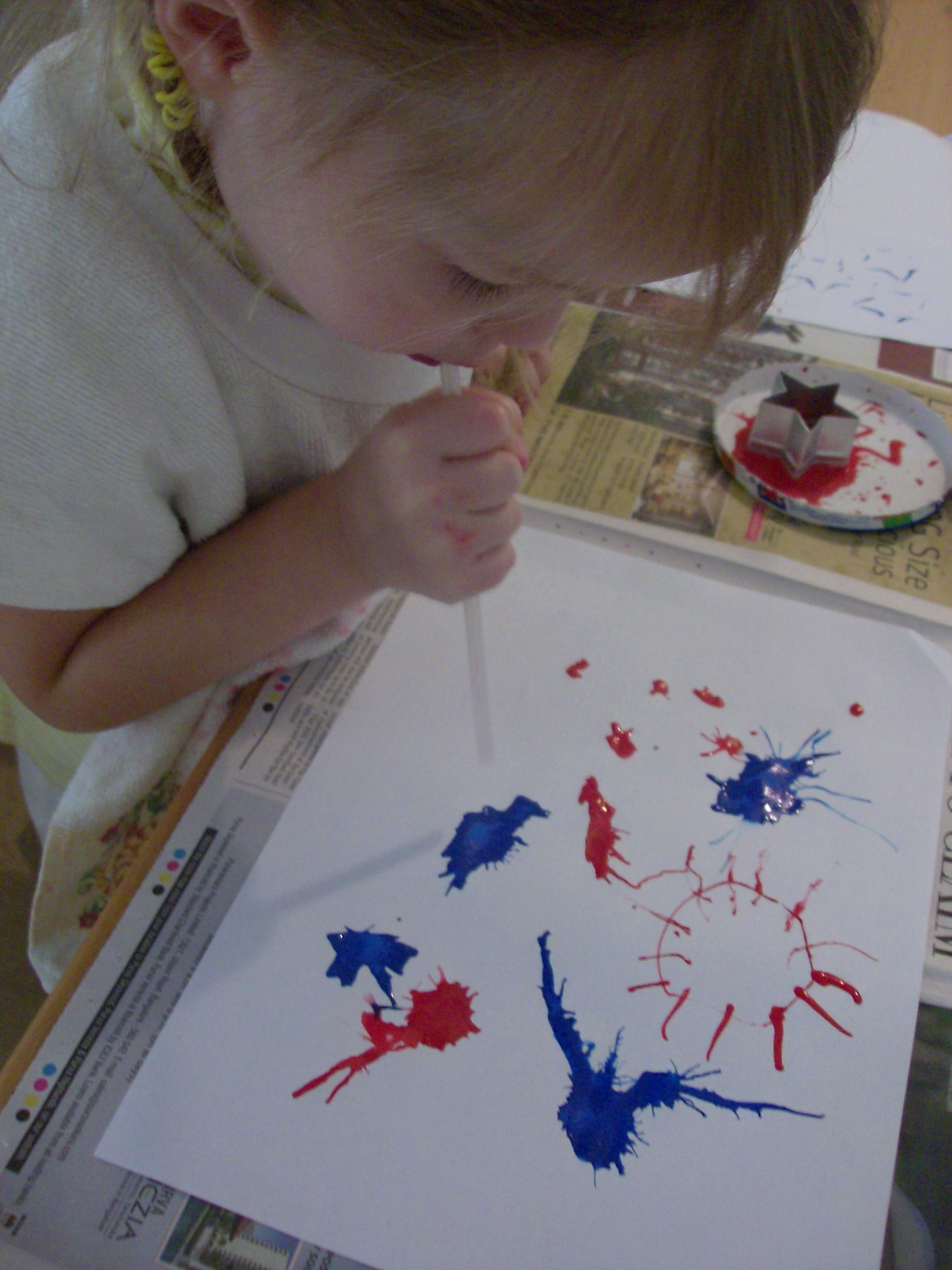 4th of July Craft: Paint Fireworks