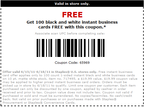100 free business cards at staples freebie cravings for Print business cards at staples
