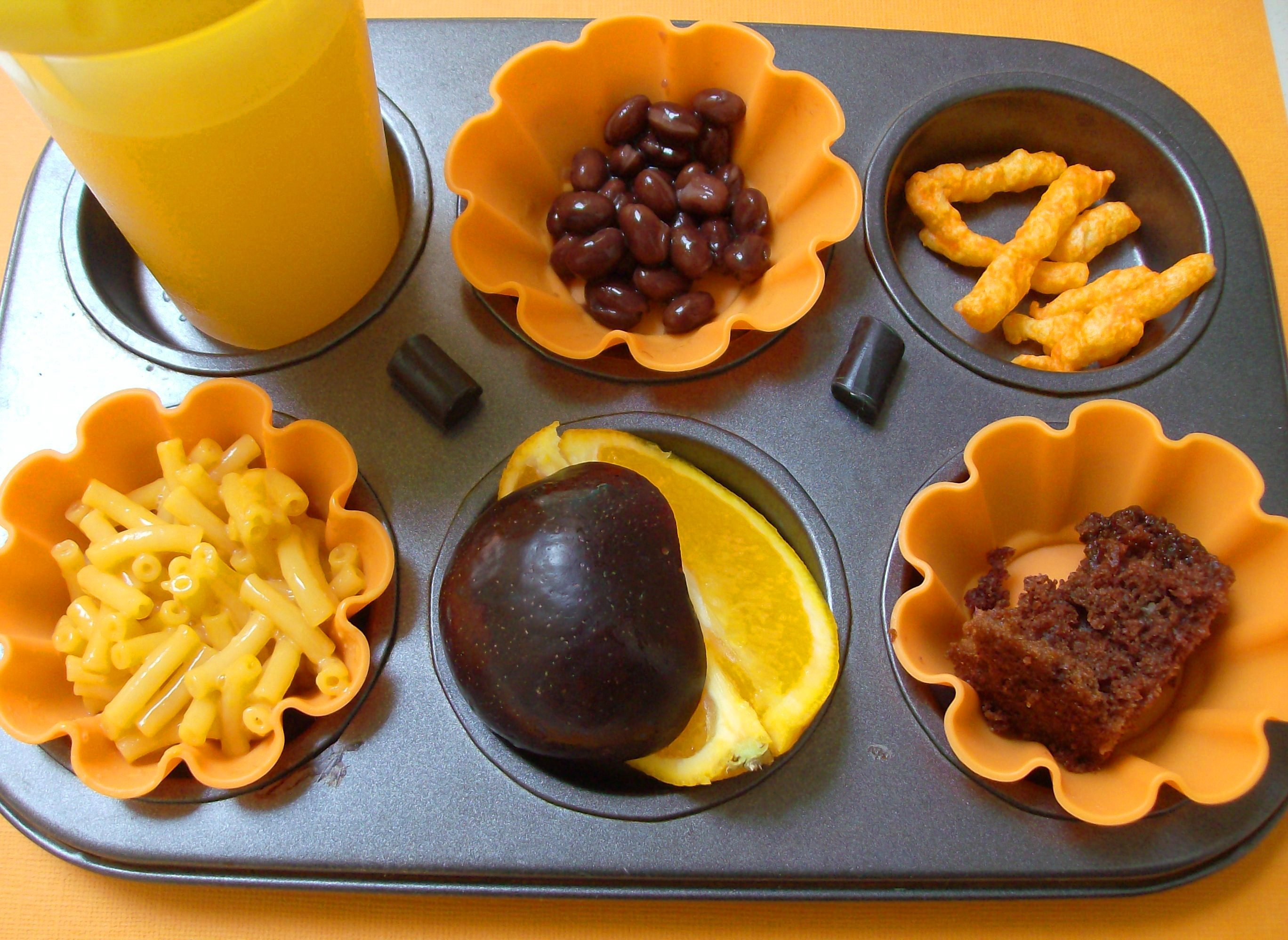 Halloween Muffin Tin Meal: Orange and Black