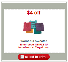 target sweater coupon apparel