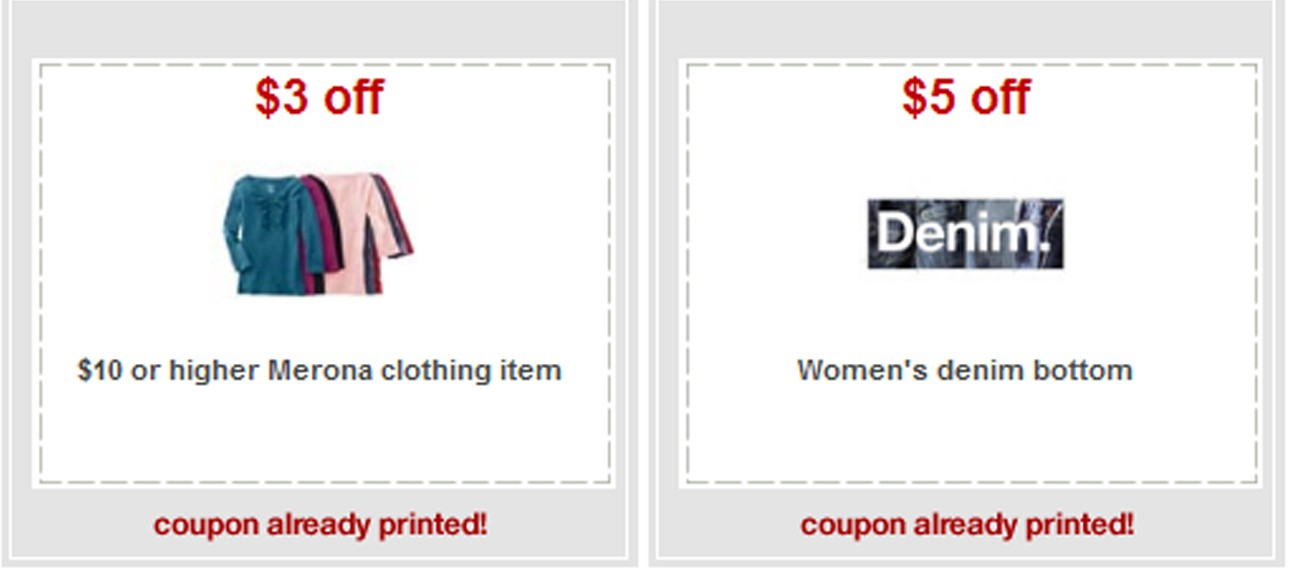 Coupons for target clothes