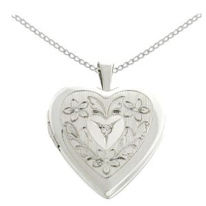 Sterling Silver Diamond Accent Flowers and Leaves Heart Locket Pendant, 18""