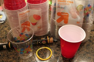 glow cups using glow bracelets sticks