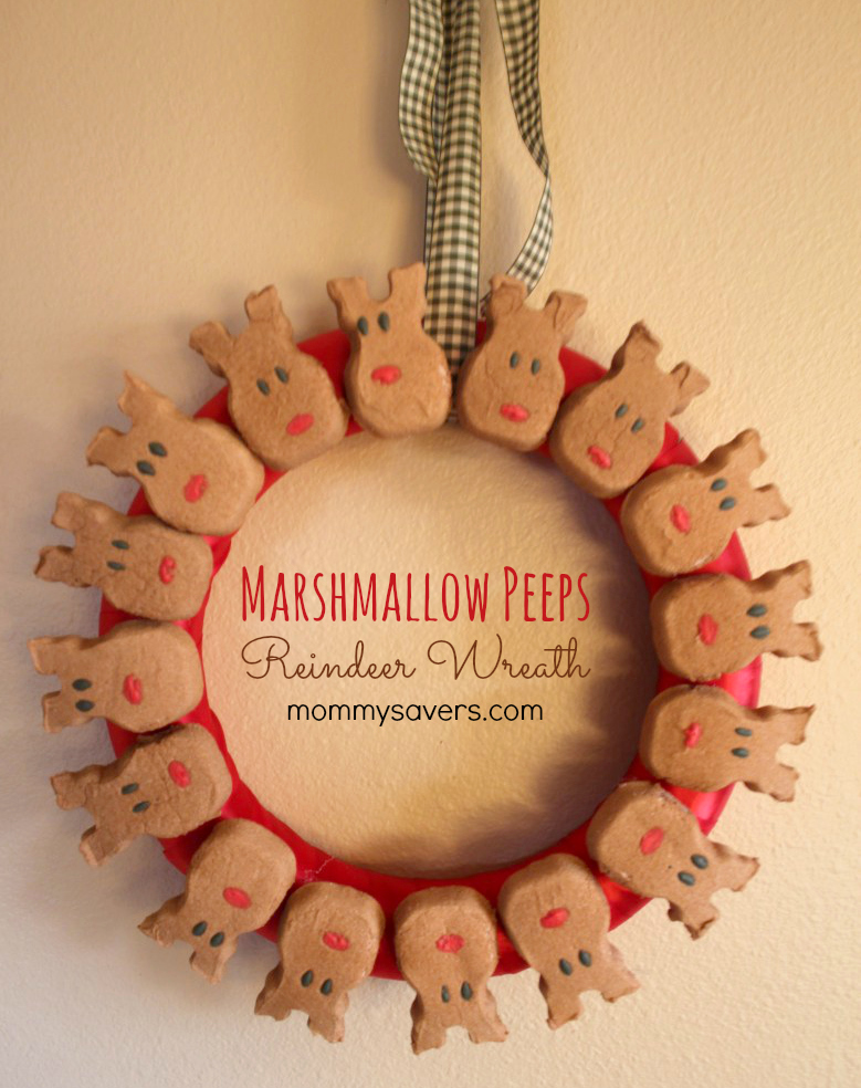 Frugal Holiday Crafts Marshmallow Peeps Reindeer Wreath Mommysavers
