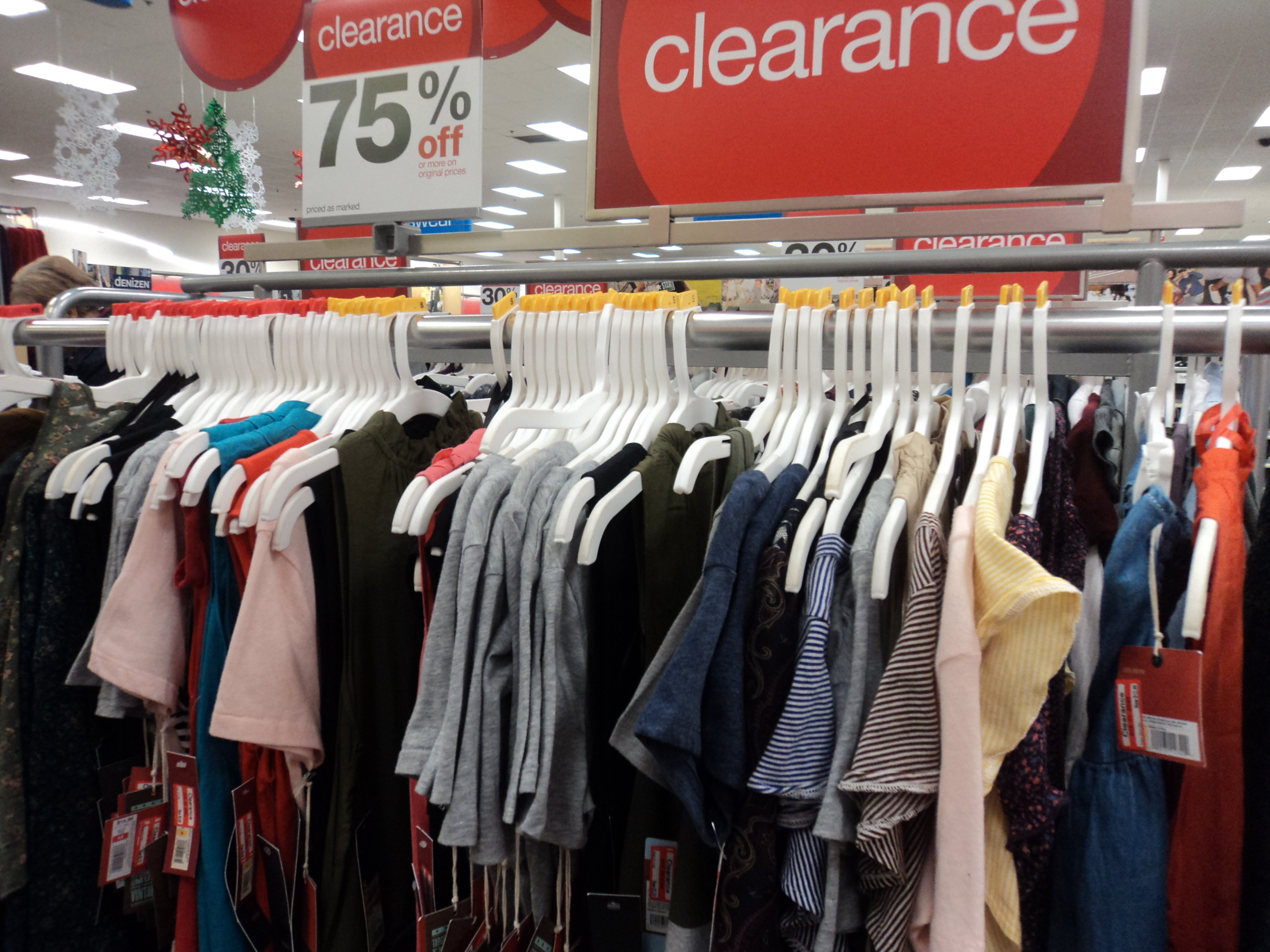There were several racks of women's clothing at 70% off