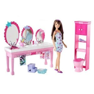 Barbie Sisters Beauty Fun Bathroom and Skipper Doll Set