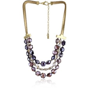 Kenneth Cole Violet Glass Faceted Bead 3 Row Necklace