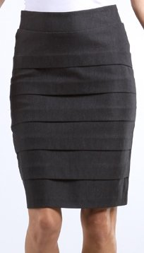 Knee Length Tiered Sleek Stretch Skirt - Amazon