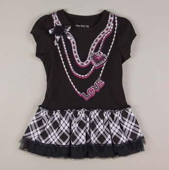 Toddler Ruffled Dress Necklace Screenprint Black - Totsy