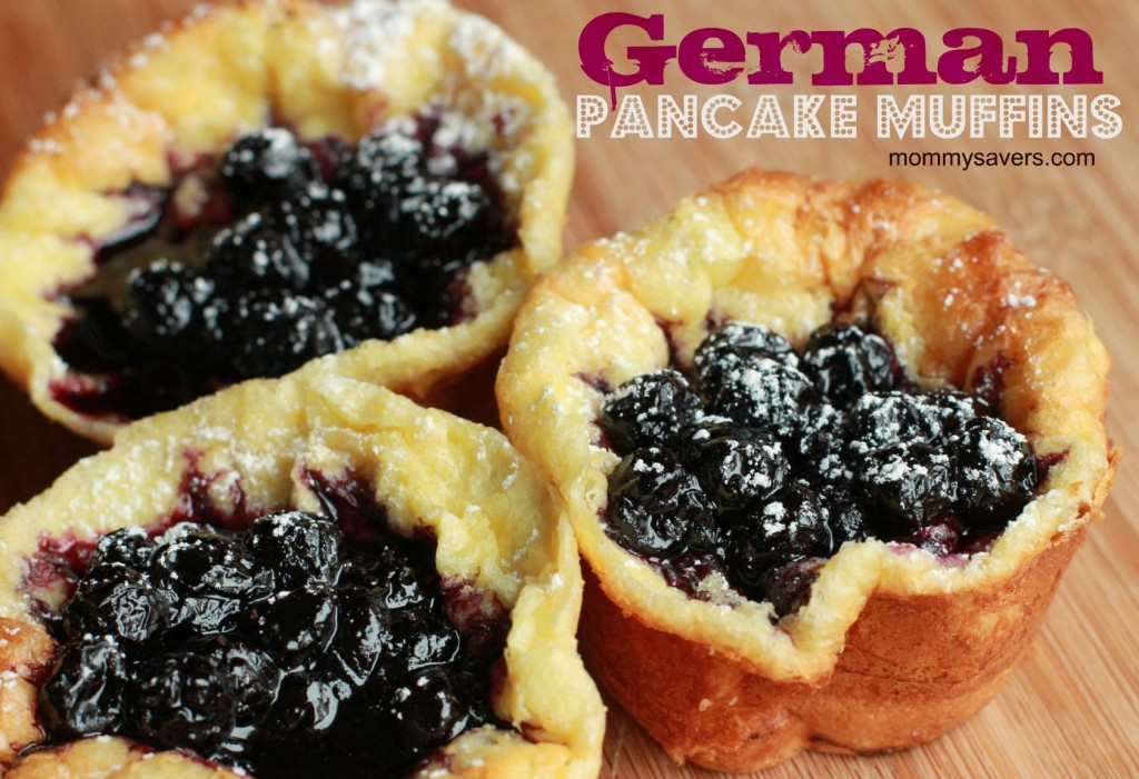 German Pancake Muffins with Blueberry Sauce