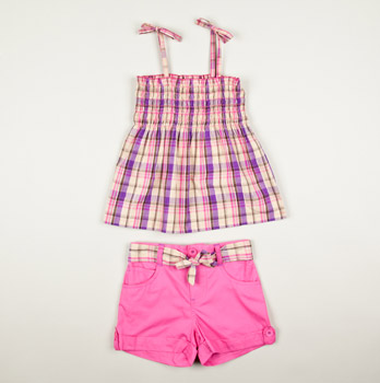 Infant Plaid Smocked Top Poplin Short Set Pink - Totsy