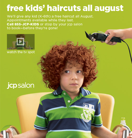 jcpenney free haircuts august