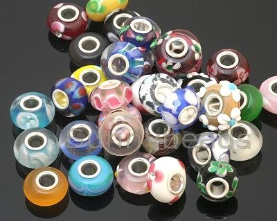 50 Piece Lot Lampwork Murano Glass European Mix Beads