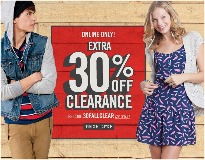 Aeropostale 30 percent off clearance