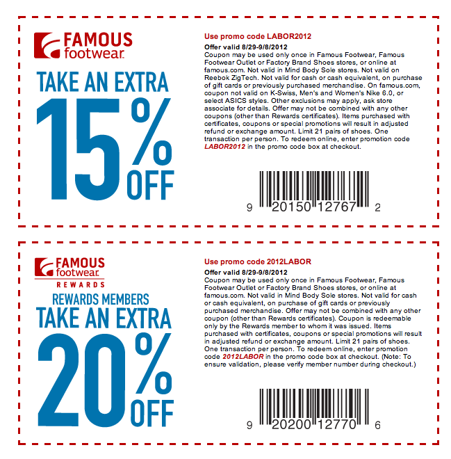 Famous footwear coupons online shopping