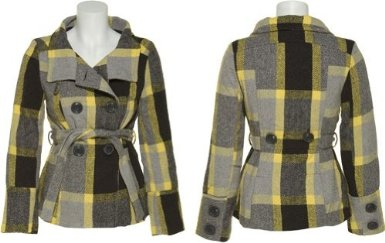 LAST KISS Wool-Blend Canary Plaid Jacket w Belt - Amazon Deals