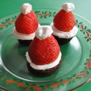 christmas treats - santa hat brownie bites