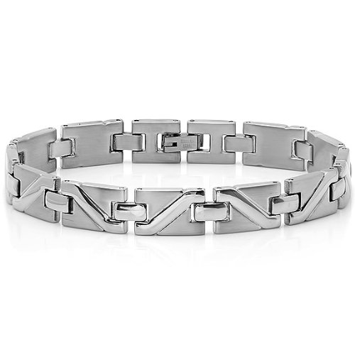 Mens Stainless Steel Solid Patterned Link Bracelet - Amazon Deals