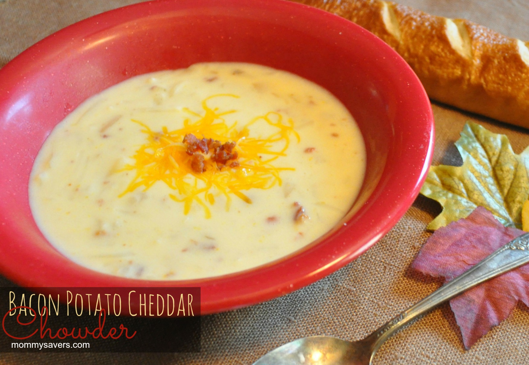 Bacon Potato Cheddar Chowder - EASY! | Mommysavers.com