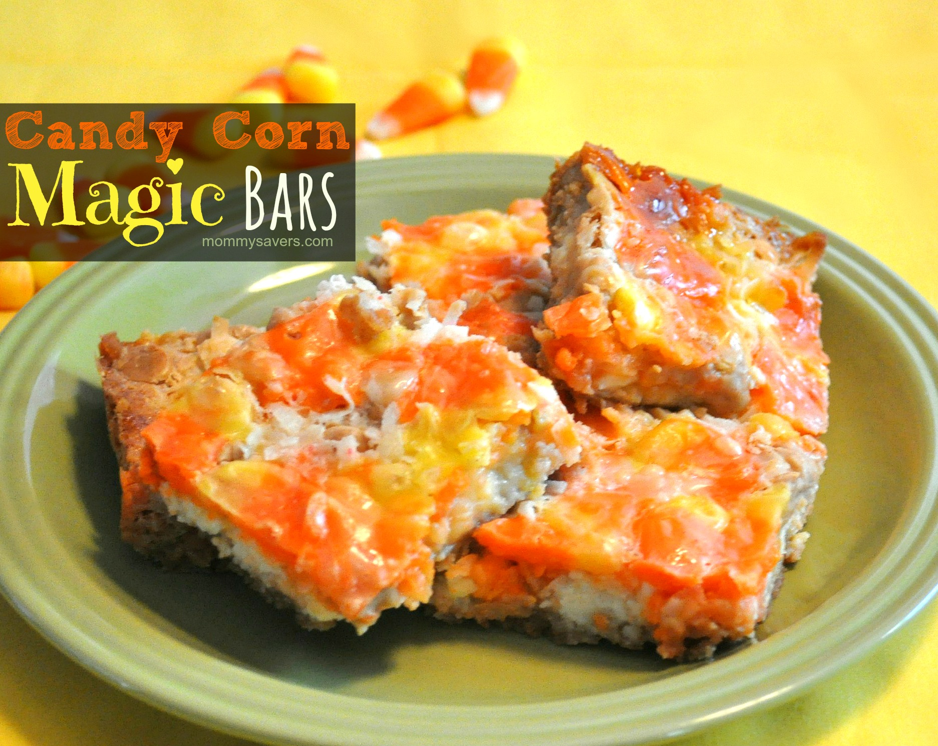 Candy Corn Magic Bars Recipe #Halloween