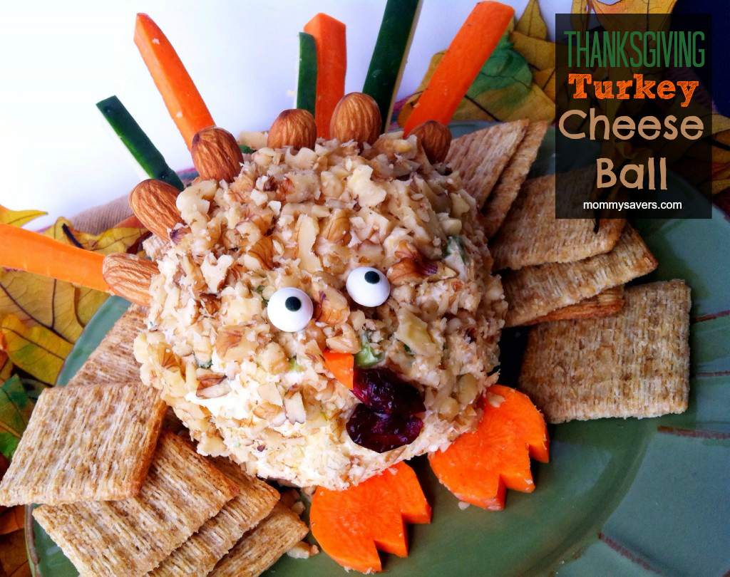 Thanksgiving Turkey Cheese Ball - So Cute!  Thanksgiving Recipes for Kids