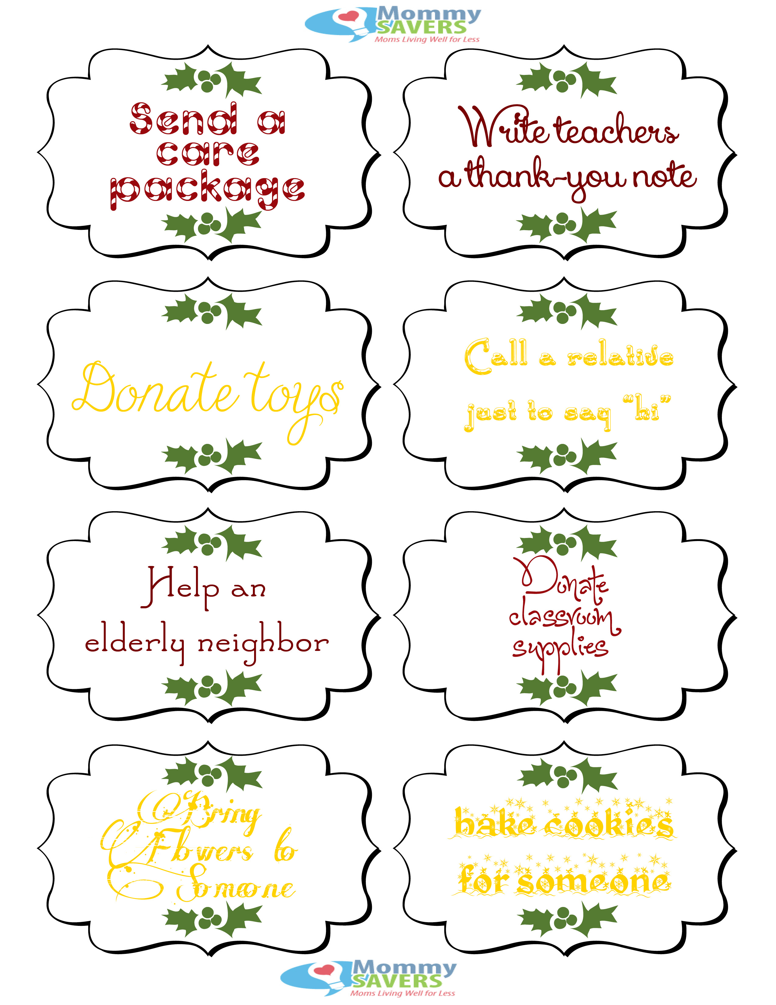 Elf on the Shelf Printables: Random Acts of Kindness - Mommysavers ...