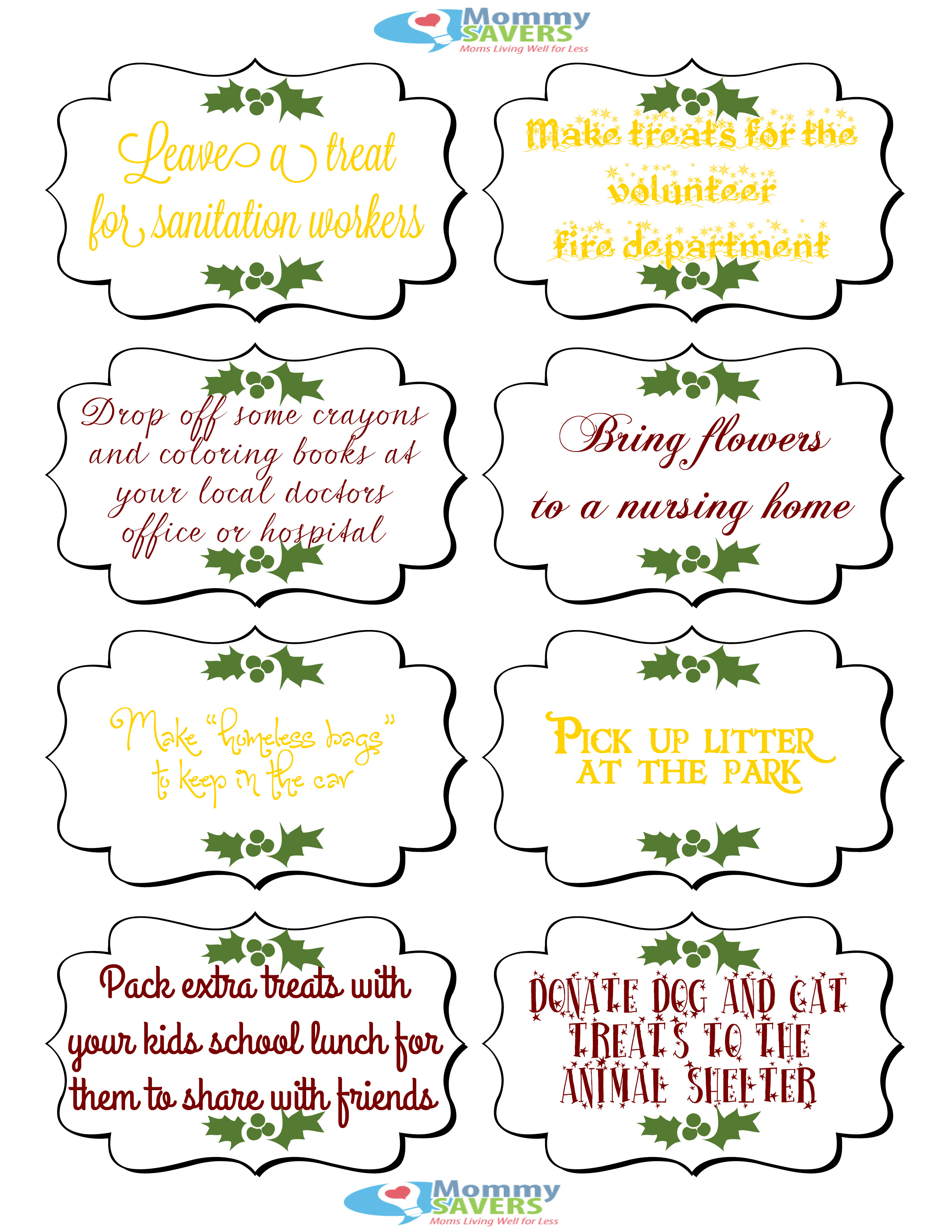 Elf on the Shelf Printables Random Acts of Kindness