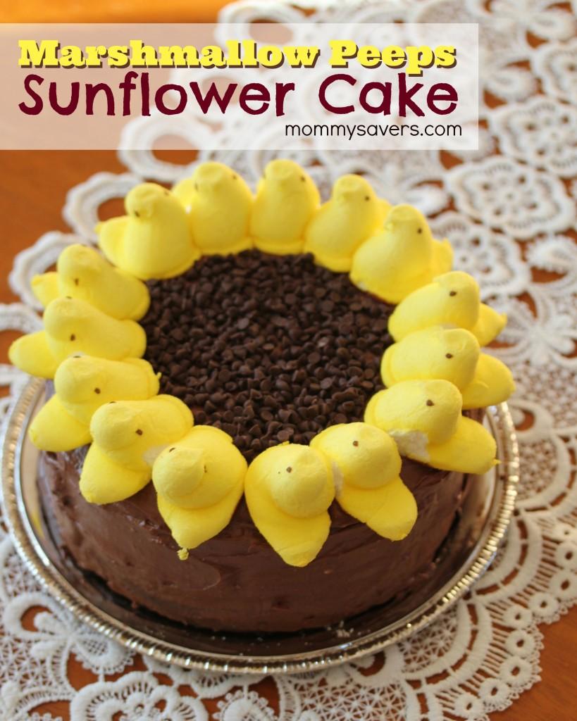 Marshmallow Peeps Sunflower Cake