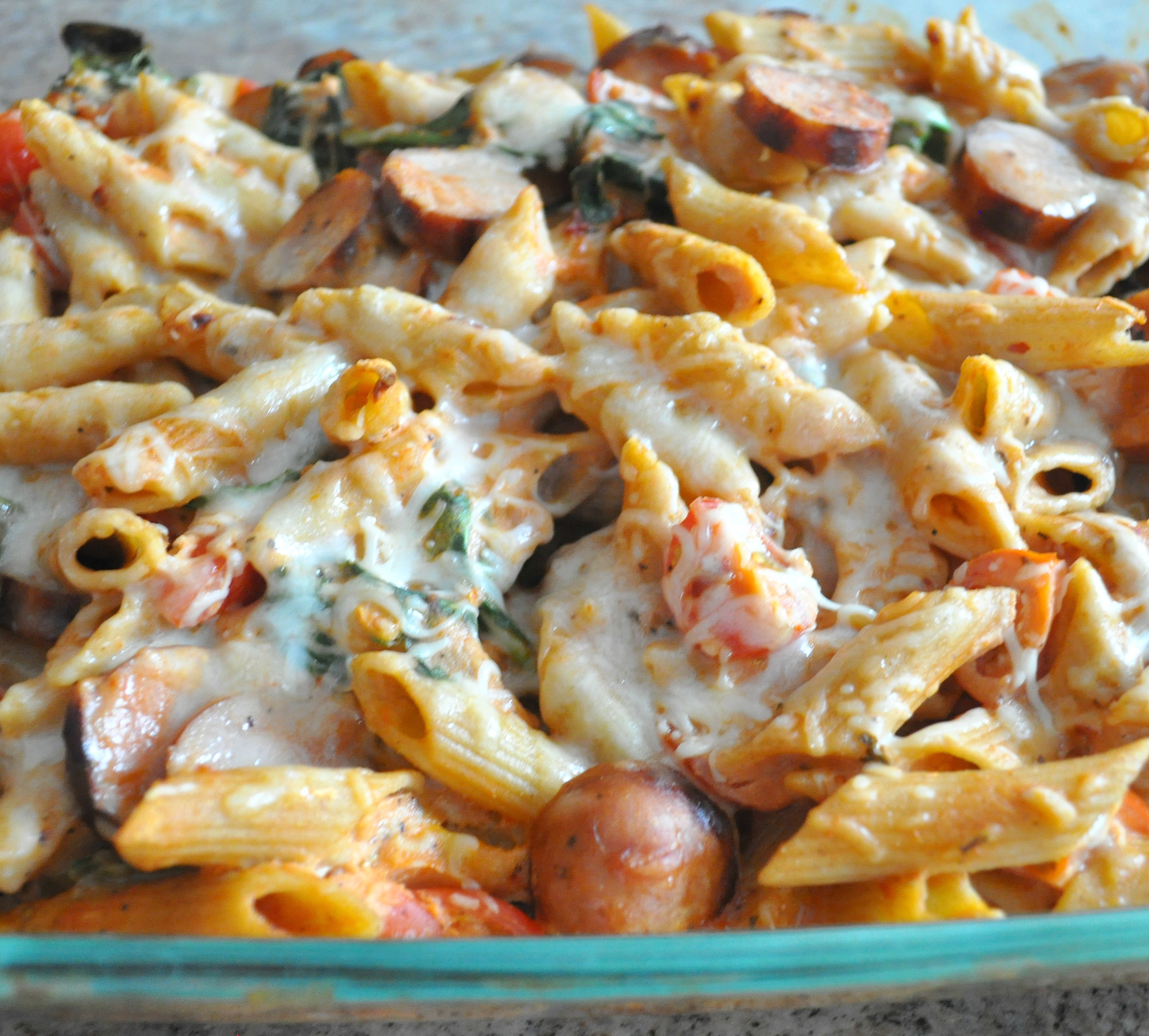 Baked Penne With Chicken Sausage Spinach Tomatoes And