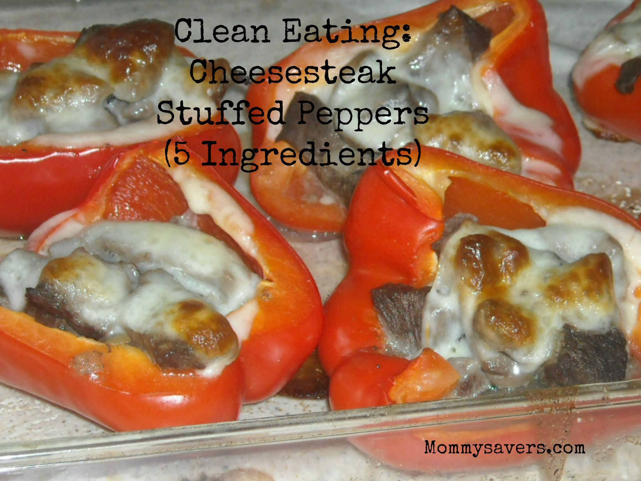 Clean Eating Cheesesteak Stuffed Peppers